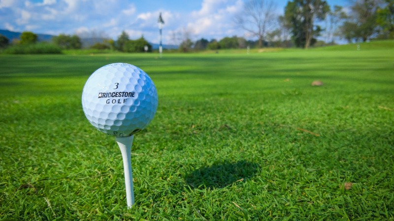 golf ball on a tee, two of the essential things you need to play golf