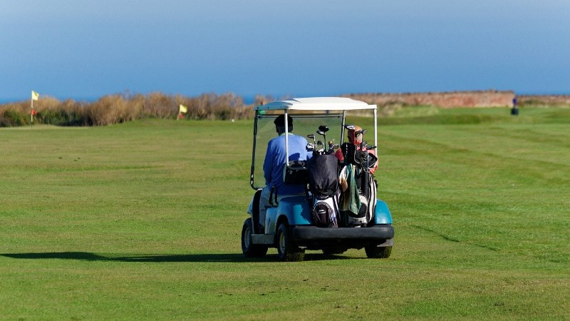 2 golfers sharing a golf buggy which is one way to slow down play